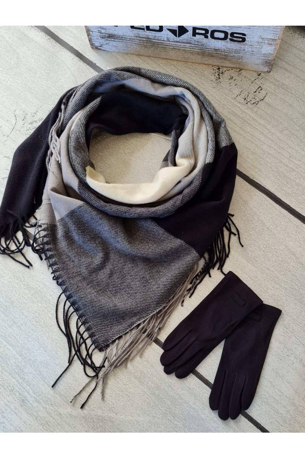 Sladěný set šátku a rukavic v kombinaci šedé a černé