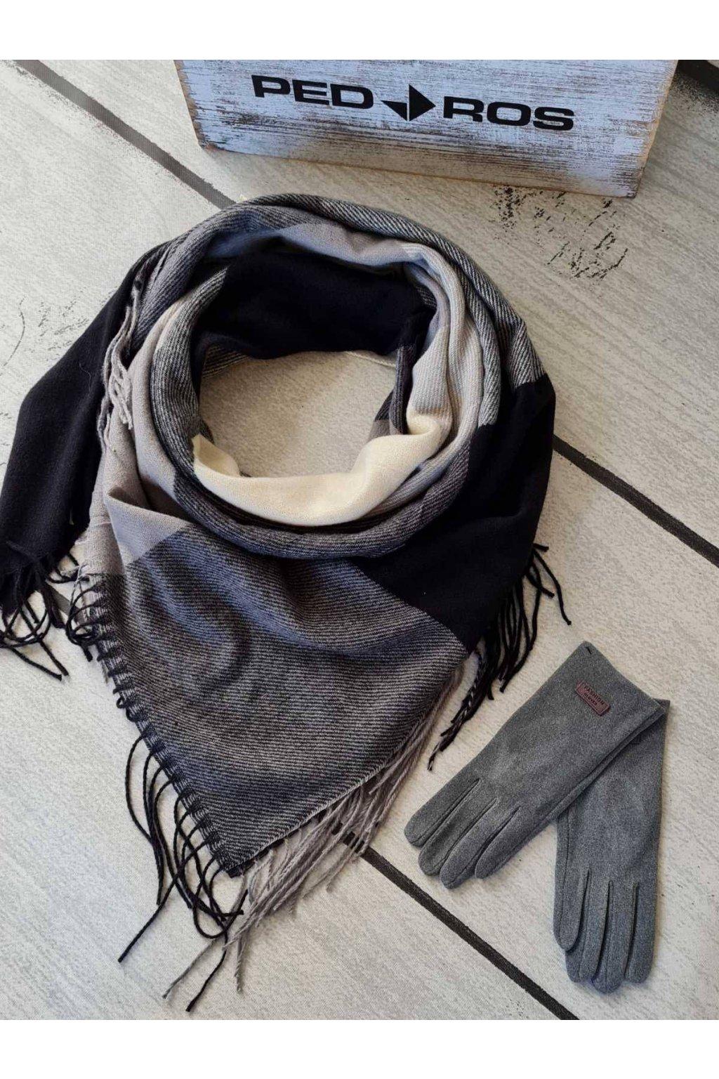 Sladěný set šátku a rukavic v kombinaci černé a šedé