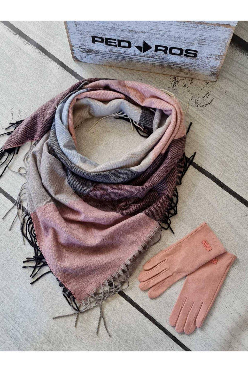 Sladěný set šátku a rukavic v kombinaci šedé a růžové