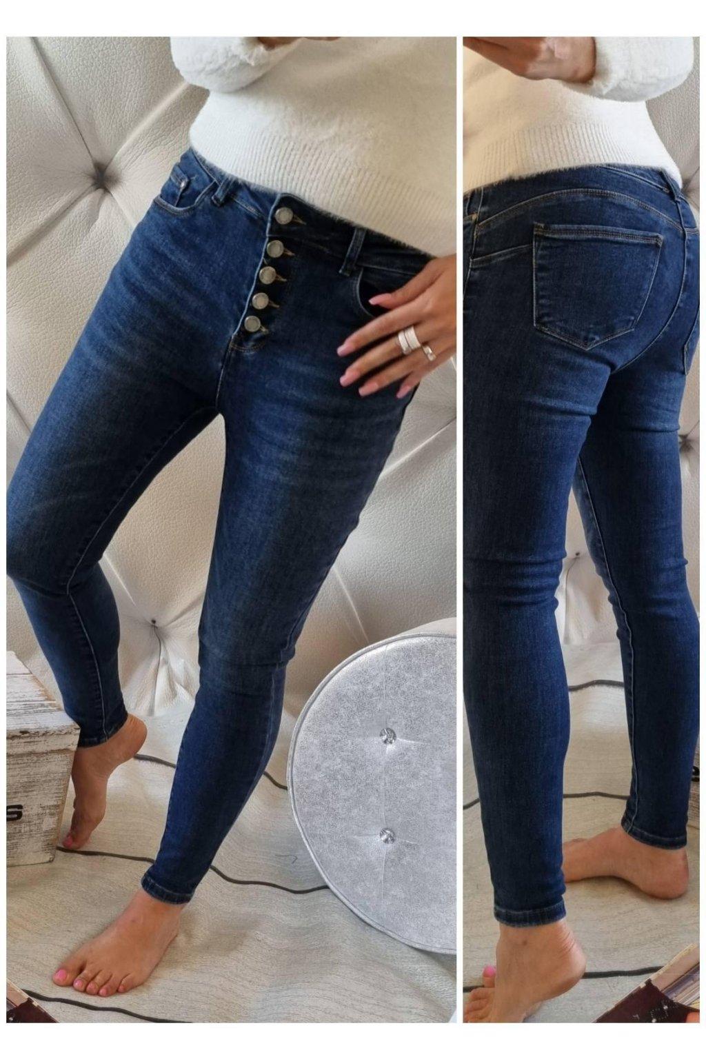 trendy jeans tmavě modré knoflíčkové