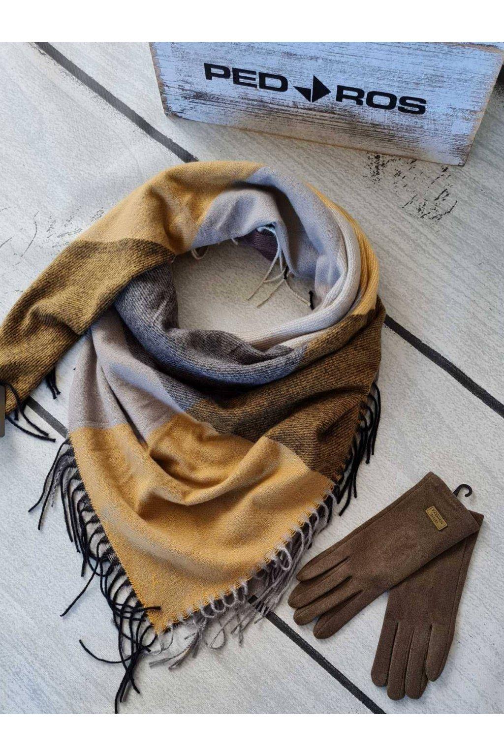 Sladěný set šátku a rukavic v kombinaci hořčicové a hnedé