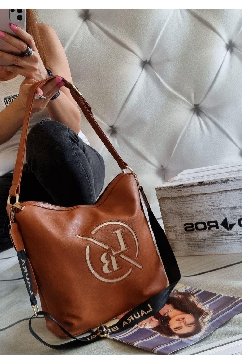 kabelka Laura Biaggi Martis značková luxusní kabelka trendy koňak
