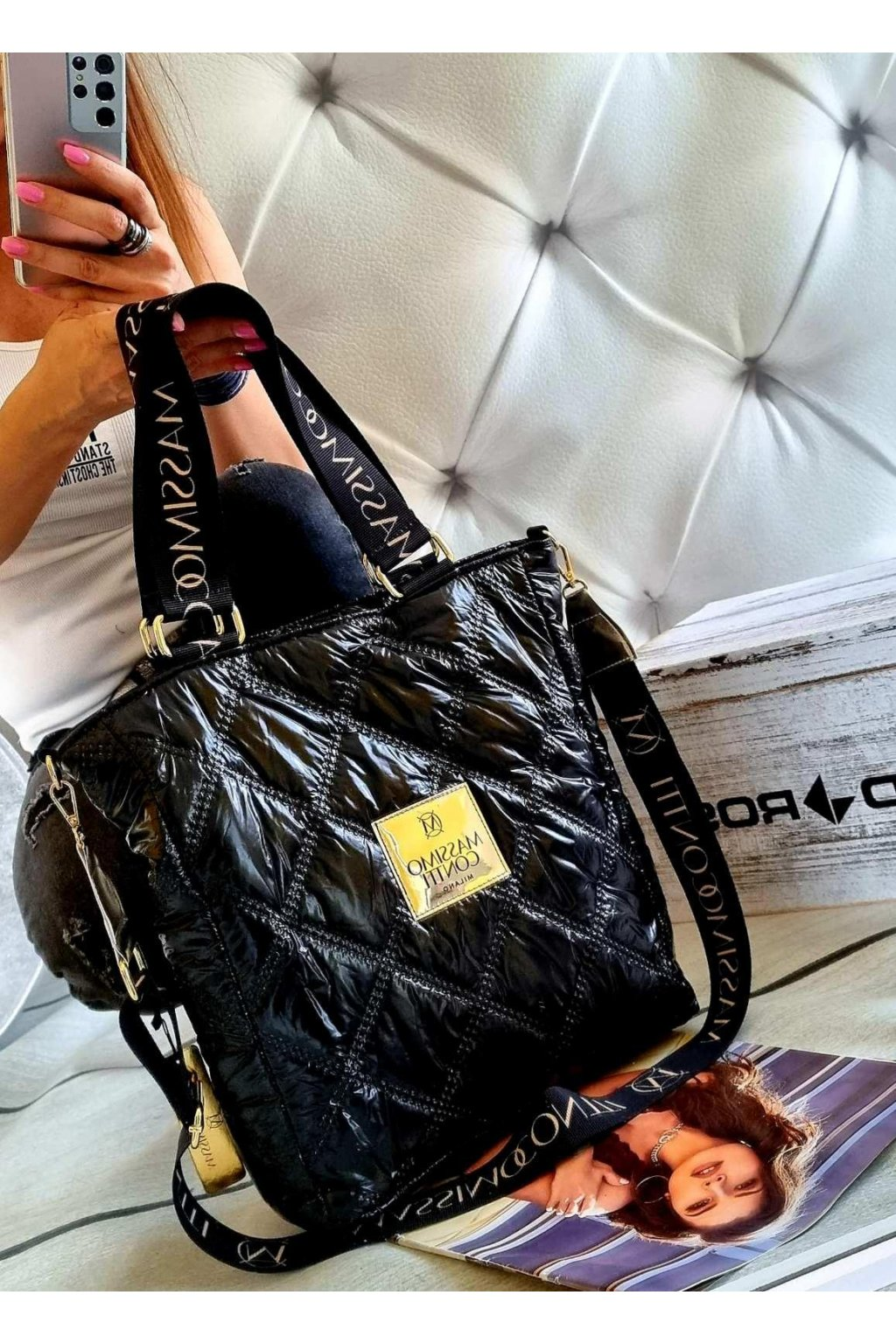 kabelka Massimo Contti black černá odlehčená luxusní kabelka