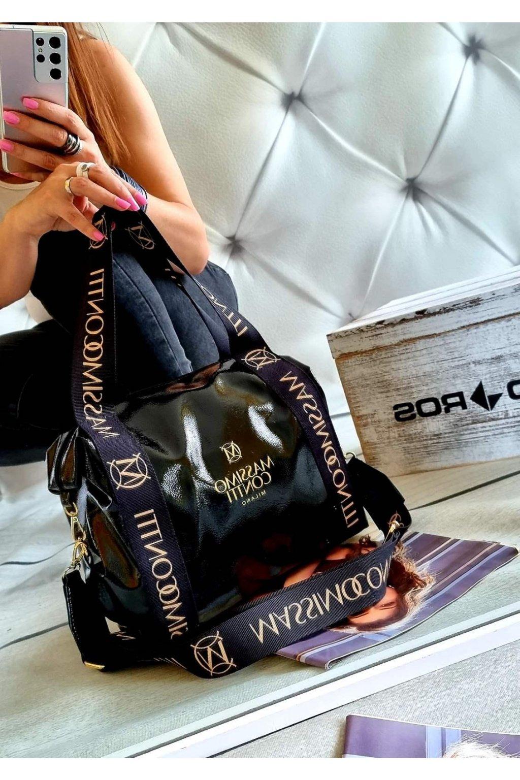 kabelka Massimo Contti black černá lakovaná fashion odlehčená luxusní kabelka značková