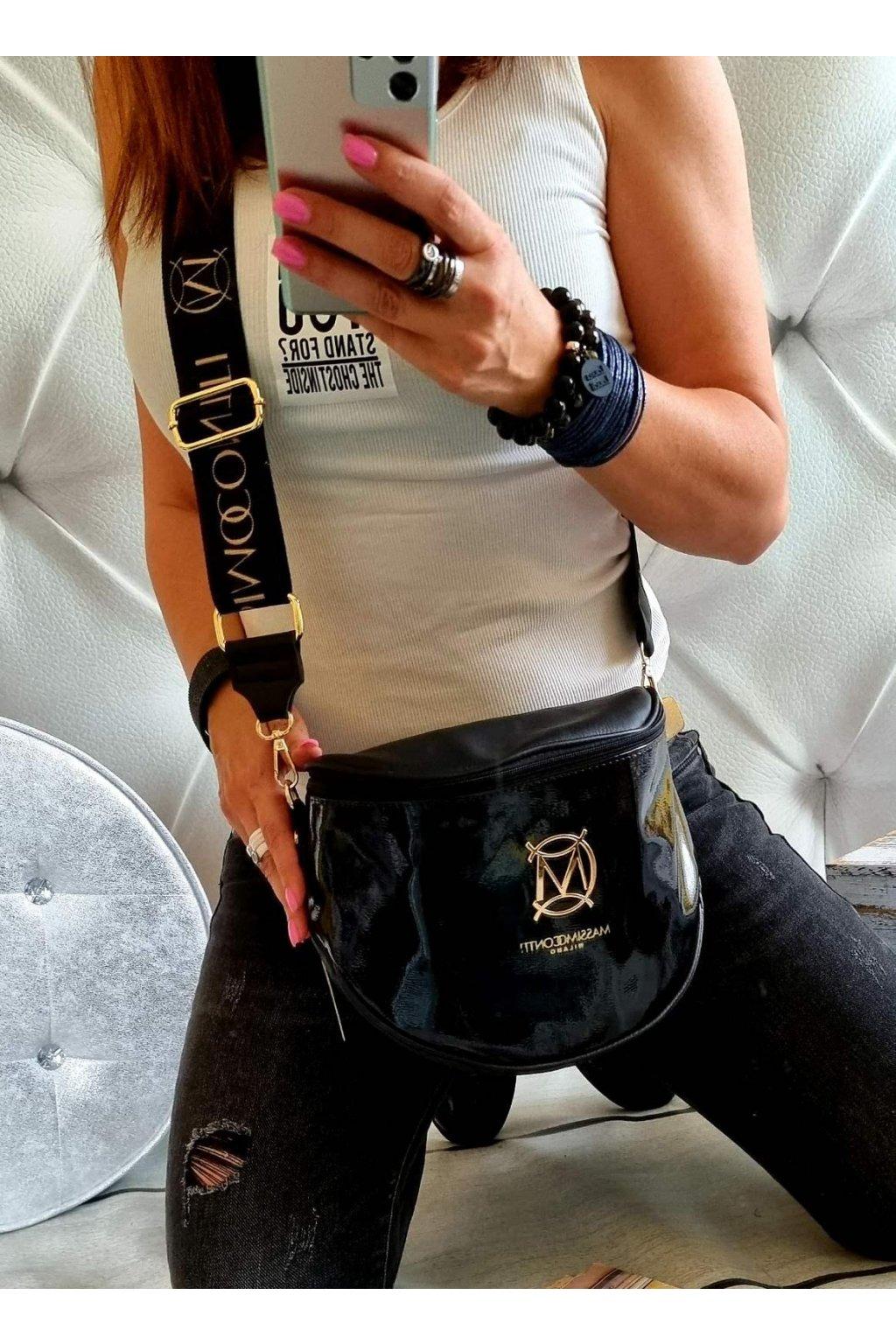 Crossbody Massimo Contti černý lak luxusní značková kabelka italy fashion
