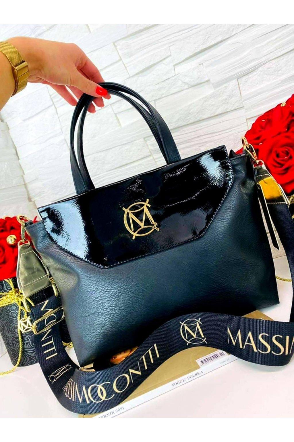 KABELKA Massimo Contti černý LAK luxusní značkovÁ kabelka elegant italy fashion