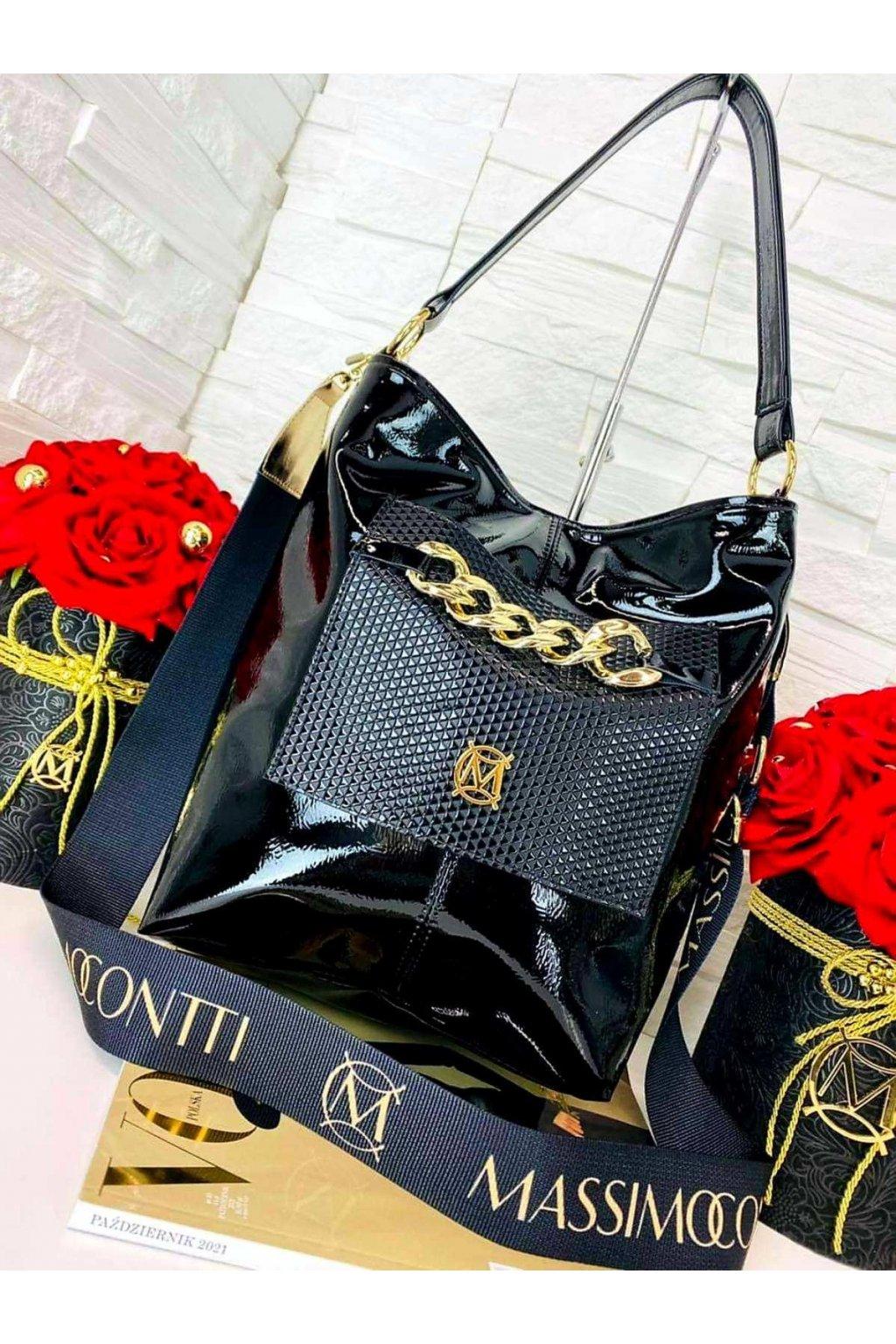 KABELKA Massimo Contti černý LAK luxusní značkovÁ kabelka elegant italy fashion s řetězem II
