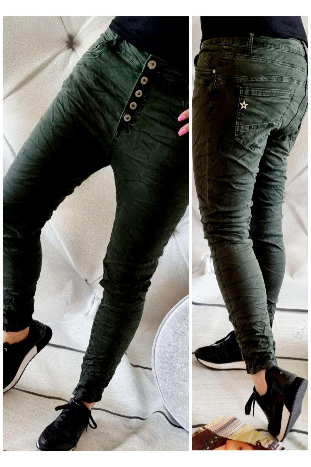 jeans baggy zelené trendy stylovky pohodlné