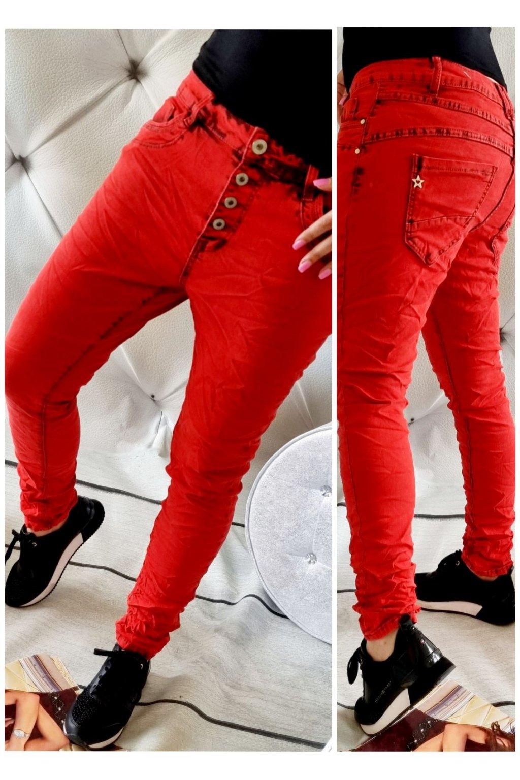 jeans baggy červené trendy stylovky pohodlné
