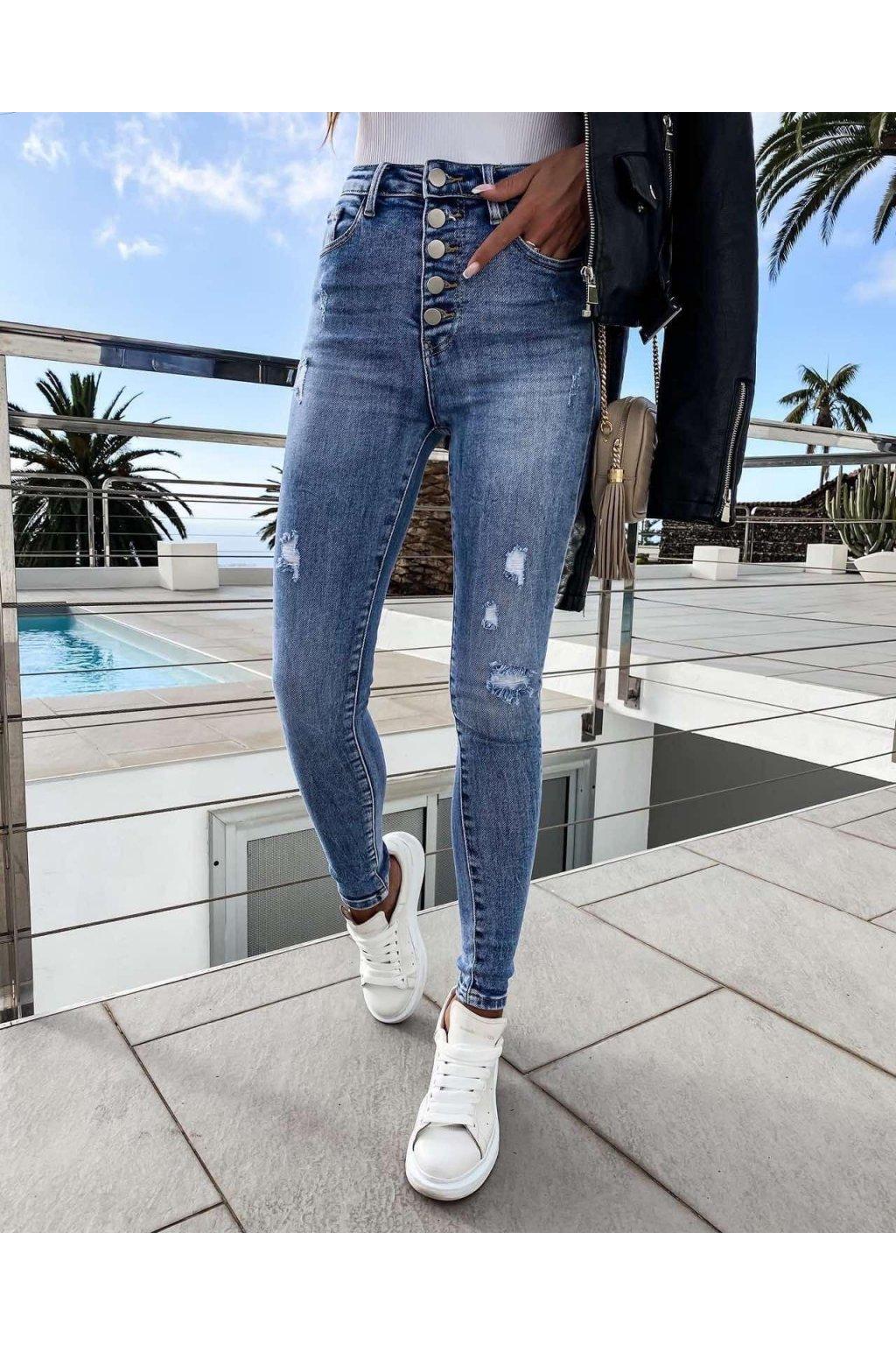 jeans trendy knoflíček modré s elastanem