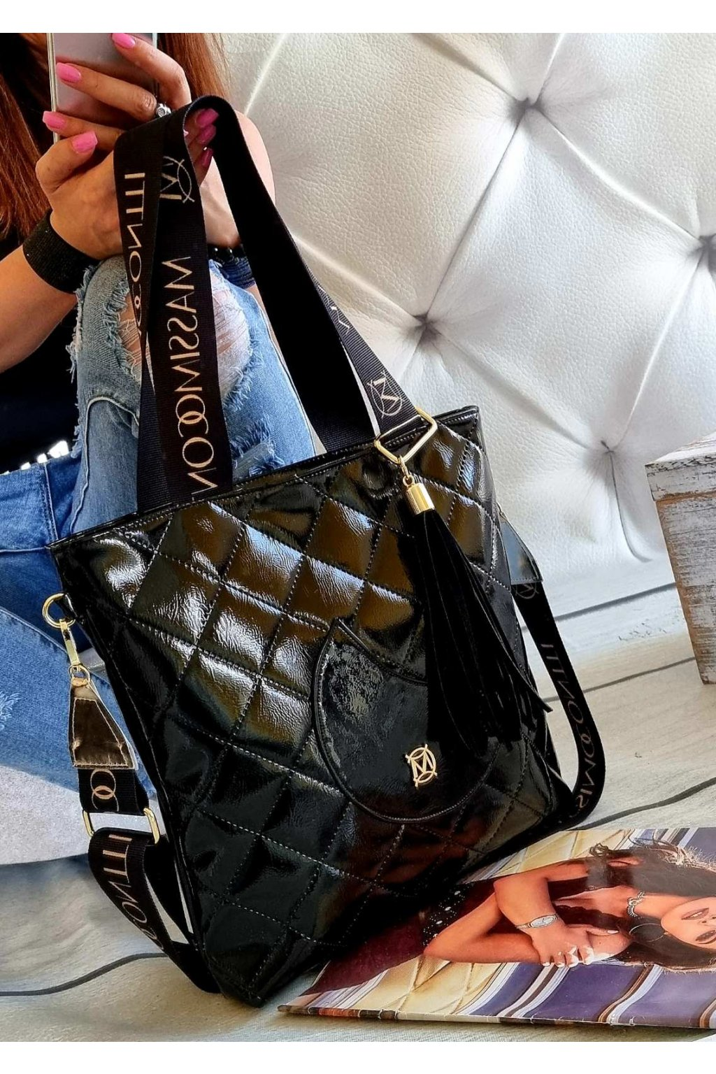 Kabelka Massimo Contti černá lak trendy italy fashion style