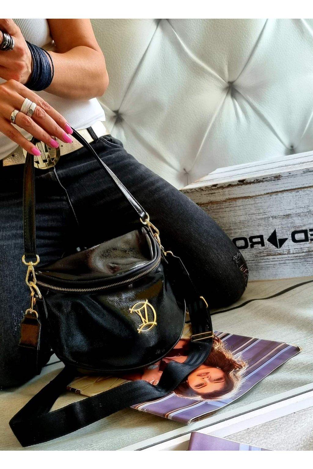 crossbody Vittoria kabelka značková luxusní černá lakovaná