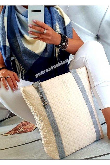 Sladěný set kabelky Pedros béžové a šátku v modré