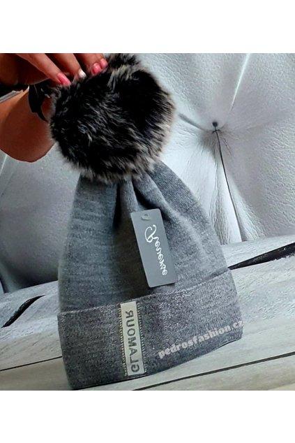 Čepice s bambulí Glamour šedá
