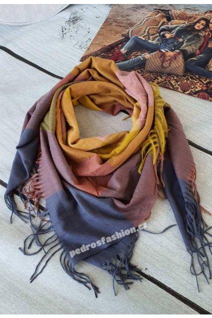 Zimní maxi šátek Torino hořčicový v kombinaci s růžovou a šedou barnou