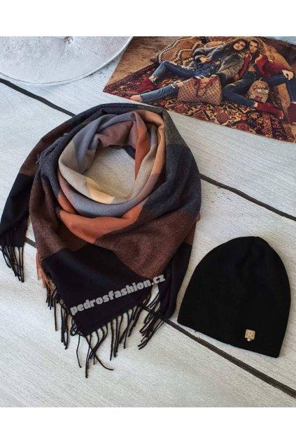 Sladěný set čepice a šátku v kombinaci hnědé s černou barvou