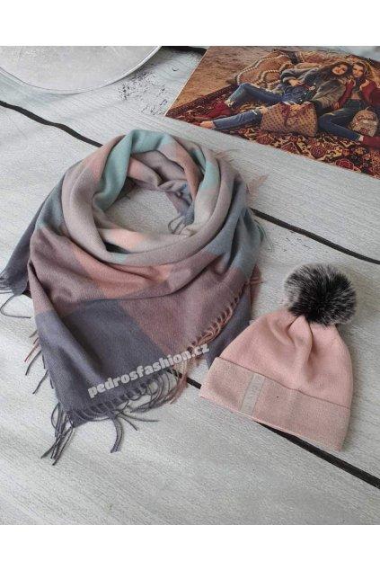 Sladěný set čepice a šátku v kombinaci šedé, růžové a mentolové barvy