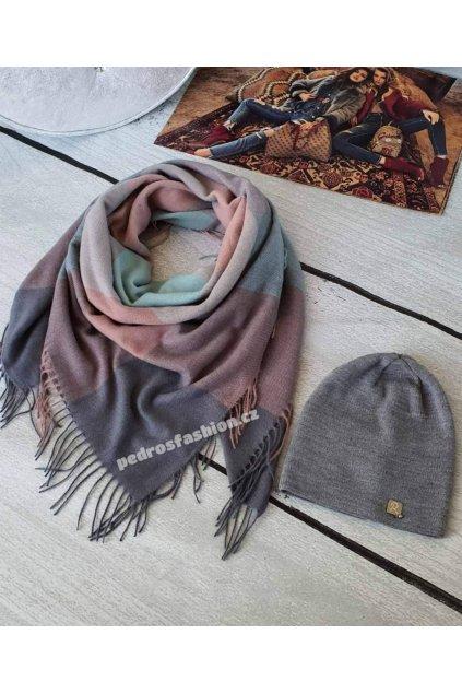 Sladěný setčepice a šátku v kombinaci šedé, růžové a mentolové barvy
