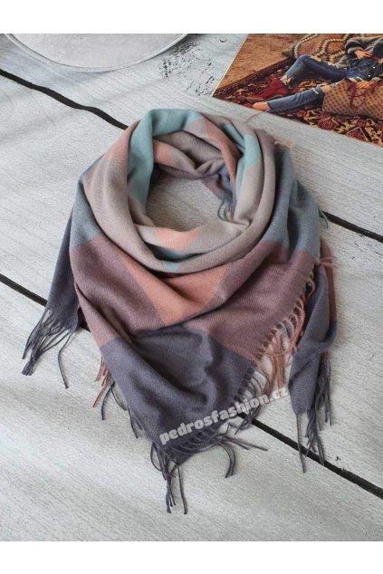 Zimní šátek Conte šedý a mentol