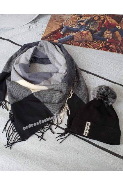Sladný set čepice a šátku v kombinaci černé, šedé a krémové barvy 3