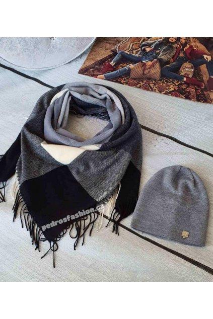 Sladný set čepice a šátku v kombinaci černé, šedé a krémové barvě