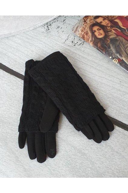 Dámské zimní pletené rukavice černé