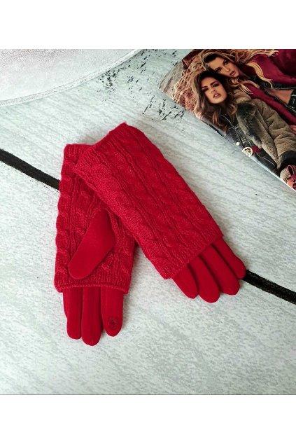 Dámské zimní pletené rukavice červené