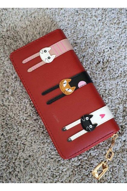 Peněženka s kočkama červená