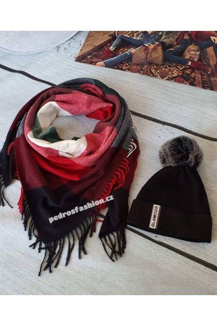 Sladěný komplet čepice a šátku v černo červené barvě