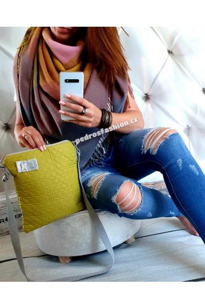 Sladěný set kabelky a šátku v limetkové barvě