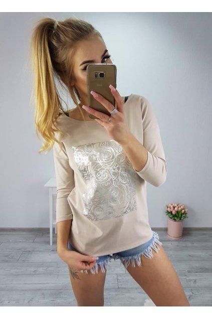 Dámské triko Roses béžové