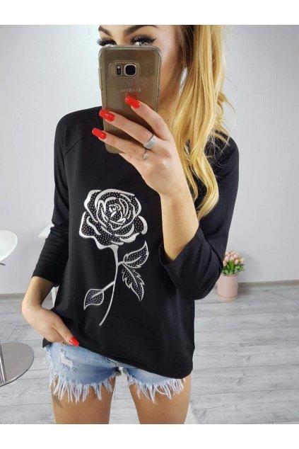 Dámské triko Flower černé