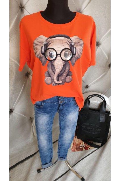 Tričko se slonem oranžové