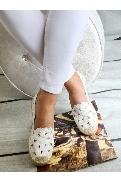 Espadrylky bílé krajkové letní pohodlné trendy