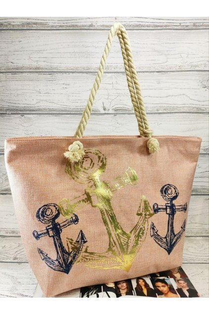 letní plážová taška kotva růžová