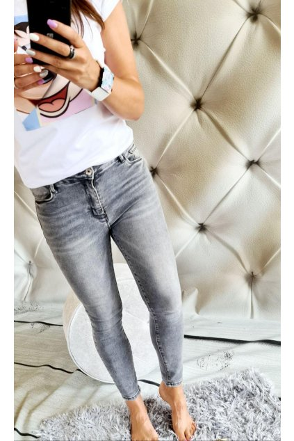 jeans šedé elastické