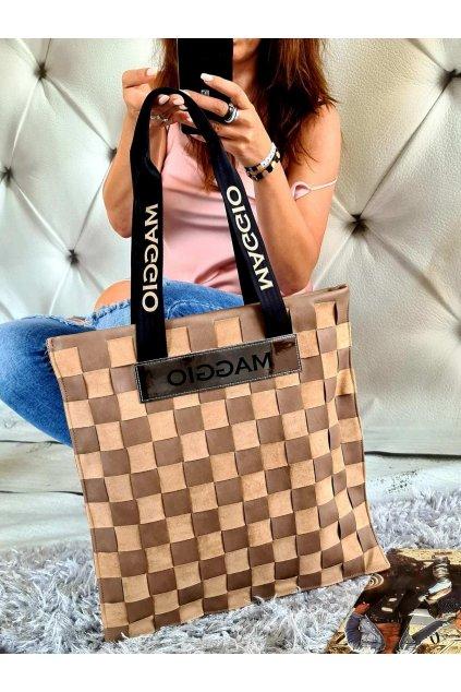 Maggio béžová kabelka trendy eko kůže koženka