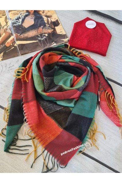 Sladěný set čepice a šátku červený