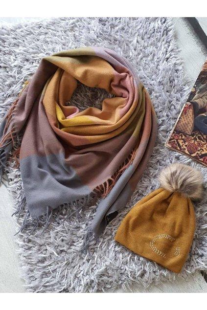 sladěný set šátku a čepice v hořčicové tip na dárek pro ženy a dívky