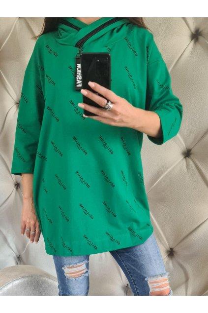 mikina prodloužená meggi collection zelená písmenka