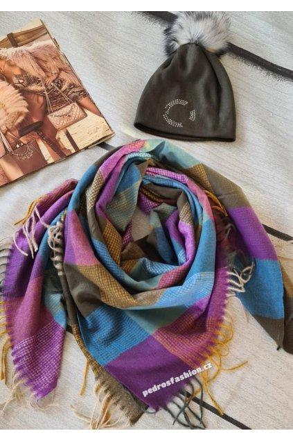 sladěný set čepice a šátku ve fialové a khaki darkový set