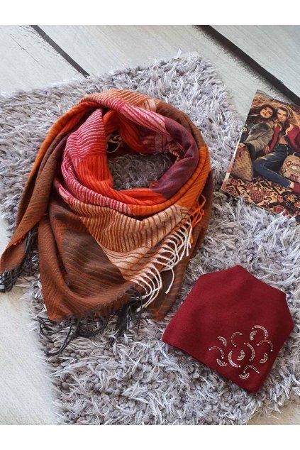 sladěný set kabelky a šátku v bordó barvě tip na dárek vánoce