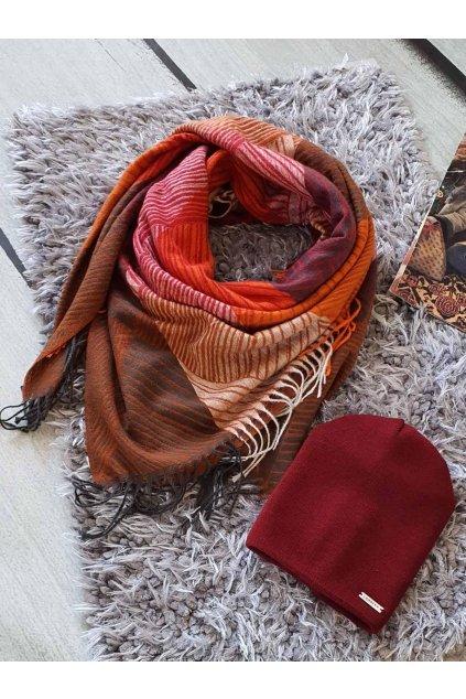 sladěný set kabelky a šátku v bordó barvě tip na dárek vánoce easy