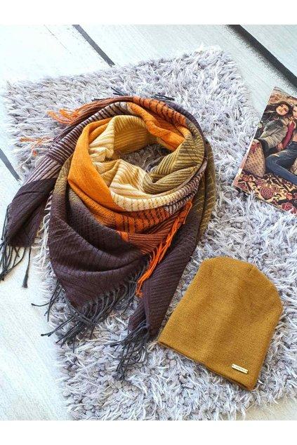 sladěný set kabelky a šátku v hořčicové barvě tip na dárek vánoce easy