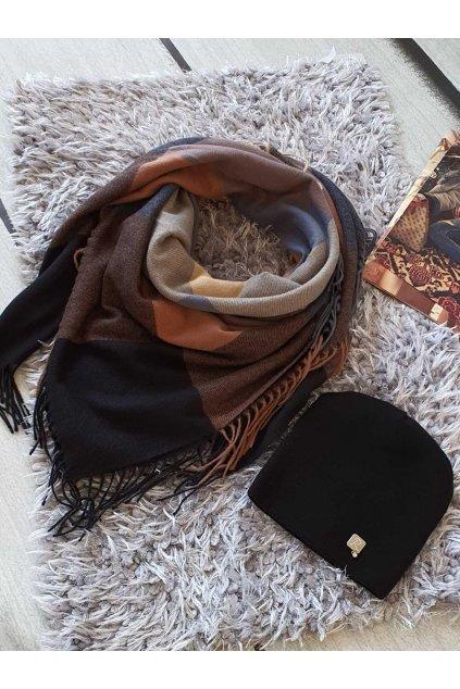 sladěný set kabelky a šátku v černé barvě tip na dárek vánoce