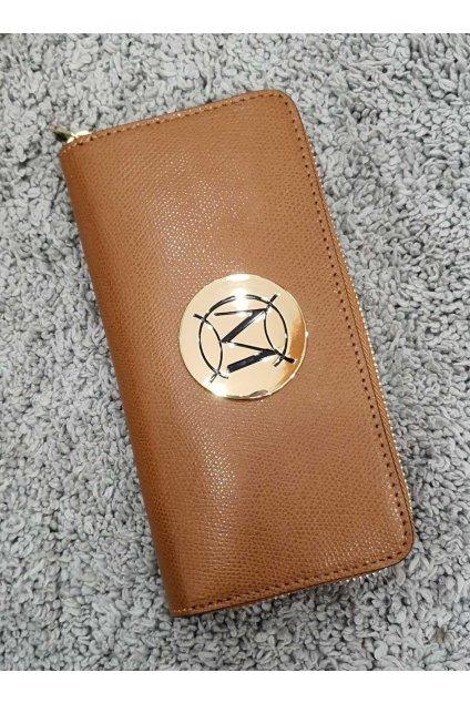 Značková dámská kožená peněženka Massimo koňaková