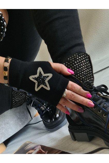 rukavice bez prstů hvězda černé