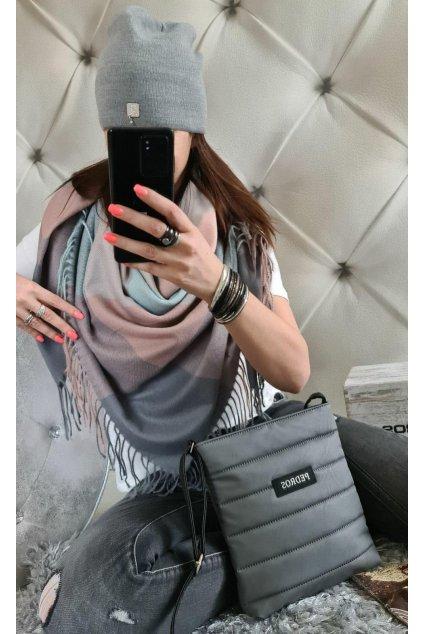 Sladěný set kabelky, šátku a čepice v šedé
