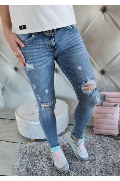 jeans modré trhané do pasu
