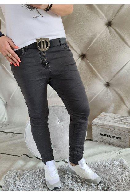 jeans černoošedé pohodlné